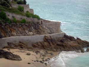 Landscapes of the Brittany coast - Emerald Coast: coastal walk in Dinard cliffs and sea