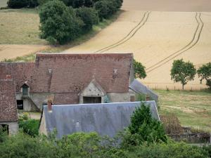 Landscapes of Burgundy - Roof of a farmhouse surrounded by fields