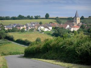 Landscapes of Burgundy - Villlage of Sémelay with its houses and the bell tower of the Saint-Pierre church, and road lined with fields
