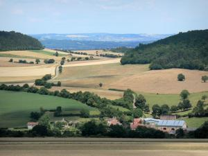 Landscapes of Burgundy - Houses surrounded by trees and fields