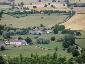 Landscapes of Burgundy - View of farms, pastures and fields in Nivernais from the top of the Montenoison Butte