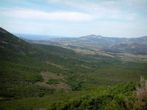 Landscapes of the Corsica coast - Hill covered with scrubland with view of the Balagne region and sea