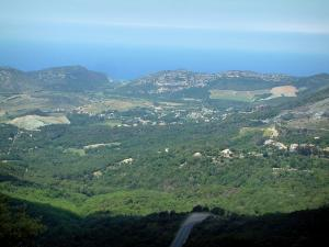 Landscapes of the Corsica coast - From the Teghime pass, view of the coast and of the sea