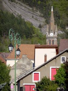 Landscapes of Dauphiné - Corps village: bell tower of the church, houses, lamppost, trees and mountains