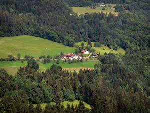 Landscapes of the Doubs - Chalets (houses) surrounded by alpine pastures (high mountain pasture) and trees