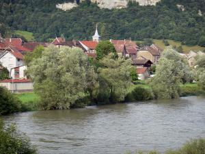 Landscapes of the Doubs - Doubs valley: houses and trees by the River Doubs