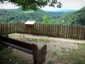 Landscapes of the Doubs - Moulin Sapin viewpoint, a bench, view of the Lison valley