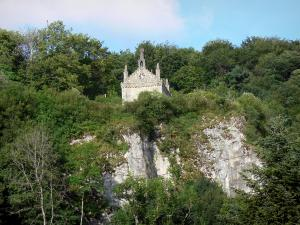 Landscapes of the Doubs - Saint-Ermenfroi chapel, trees and rock face, in Cusance