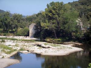 Landscapes of the Gard - Cèze valley: River Ceze, houses and trees along the water