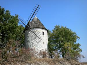 Landscapes of the Gascony - Rochegude mill (windmill) in the town of Saint-Clar