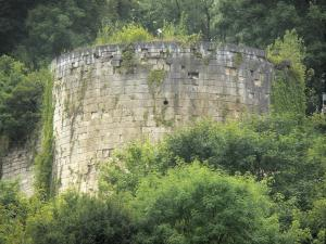 Landscapes of the Haute-Marne - Puits tower, remains of the Vignory castle, surrounded by greenery