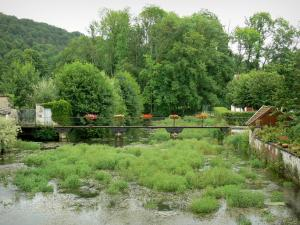 Landscapes of the Haute-Marne - Blaise valley: flower-bedecked bridge spanning over River Blaise, in Cirey-sur-Blaise