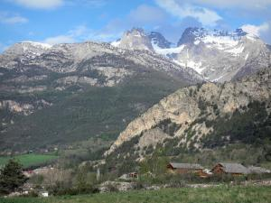Landscapes of the Hautes-Alpes - Chalets, trees and mountains