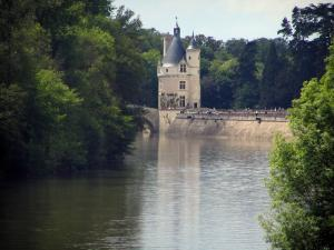 Landscapes of the Indre-et-Loire - The River Cher, the Marques tower (keep) of the Château de Chenonceau and trees