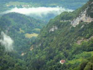 Landscapes of Jura - Flumen gorges, trees, forest, clouds, meadows, hut and tunnel; in the Upper Jura Regional Nature Park