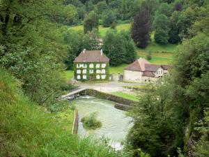 Landscapes of Jura - Ain river, houses and trees