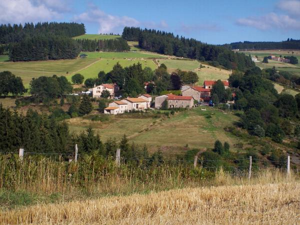 Landscapes of Loire - Pilat mountain area (Regional Natural reserve of Pilat): meadows, houses and trees
