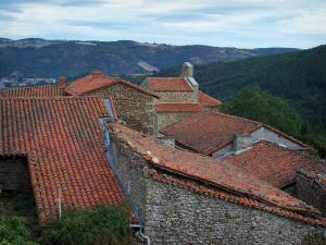 Landscapes of Loire - Roofs of houses with view of hills