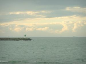 Landscapes of the Loire-Atlantique coast - Sea (Atlantic Ocean), lighthouse and cloudy sky
