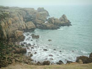 Landscapes of the Loire-Atlantique coast - Cliffs and the sea (Atlantic Ocean)
