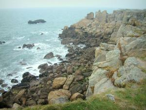 Landscapes of the Loire-Atlantique coast - Grassland, cliffs and the sea (Atlantic Ocean)