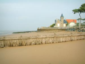 Landscapes of the Loire-Atlantique coast - Sandy beach, houses and pine trees