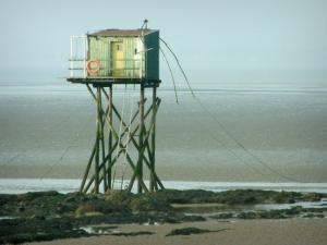 Landscapes of the Loire-Atlantique coast - Fisherman's hut built on stilts and cliffs at ebb tide