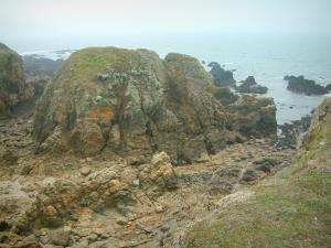 Landscapes of the Loire-Atlantique coast - Wild coast (côte sauvage): cliffs and the sea (Atlantic Ocean)