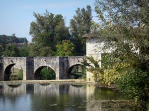 Landscapes of the Lot-et-Garonne - Old bridge spanning the Gélise river and trees along the water; in the Pays d'Albret region