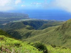 Landscapes of Martinique - Mount Pelee - Regional Park of Martinique: Martinique views of the coast and the Caribbean Sea from the green slopes of the active volcano