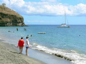 Landscapes of Martinique - Relaxing on the beach and swimming in the corner the refreshing waters of the Caribbean Sea; in the town of Carbet