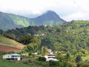 Landscapes of Martinique - Houses in a green, at the foot of the Carbet Peaks