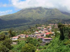 Landscapes of Martinique - Houses in the town of Morne-Rouge at the foot of Mount Pelee volcano