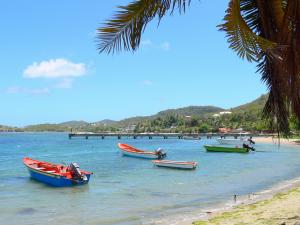 Landscapes of Martinique - Caravelle peninsula: Bay of Tartane with its pontoon and small colorful fishing boats