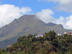 Landscapes of Martinique - Houses perched at the foot of Mount Pelee volcano