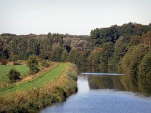 Landscapes of the Nord - Avesnois Regional Nature Park: Sambre river, trees along the water and road on the bank