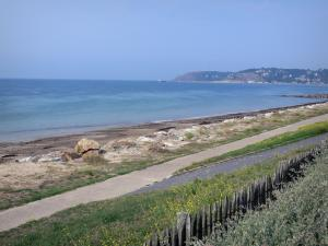 Landscapes of Normandy - Flowers, walk and beach of Barneville-Carteret (Barneville-Plage) with view of the Channel (sea), port of the seaside resort and the Carteret cape