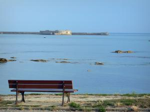 Landscapes of Normandy - Bench with view of the artificial harbour of Cherbourg-Octeville, coast of the Cotentin peninsula