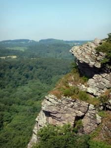 Landscapes of the Orne - Swiss Normandy (Suisse Normande): Oëtre rock (natural viewpoint) overlooking the surrounding wooded landscape