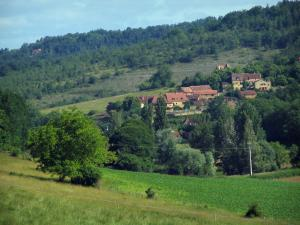 Landscapes of Périgord - Meadows, field, trees and houses