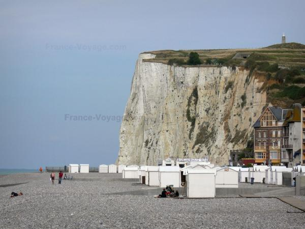 Landscapes of Picardy - Chalk cliff, beach huts, pebbles and villas of the seaside resort of Mers-les-Bains
