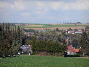 Landscapes of Picardy - Village (houses, church bell tower) surrounded by fields