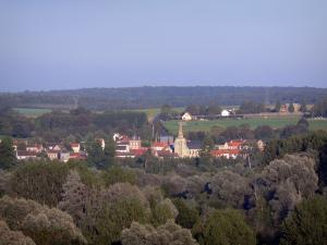 Landscapes of Picardy - Village (houses, church bell tower) surrounded by trees