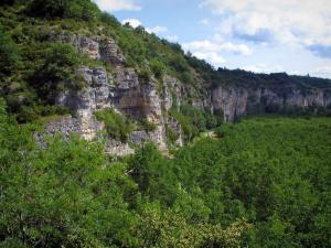 Landscapes of the Quercy - Cliff, trees and clouds in the sky
