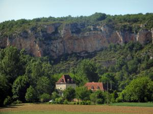 Landscapes of the Quercy - Cliff, houses, trees and field