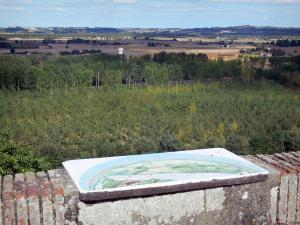 Landscapes of the Tarn-et-Garonne - In Auvillar, viewpoint indicator (where the old castle used to stand) overlooking the Garonne valley