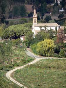 Landscapes of the Tarn-et-Garonne - Garonne valley: Espalais church surrounded by trees