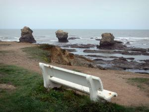 Landscapes of the Vendée - Corniche Vendéenne: bench with view of cliffs and the sea (Atlantic Ocean), in Saint-Hilaire-de-Riez (Sion-sur-l'Océan)