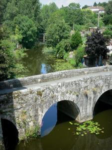 Landschappen van de Deux-Sèvres - Thouet Valley - Parthenay: St. Jacques brug over de rivier de Thouet