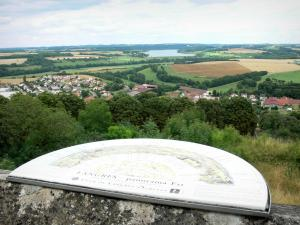 Langres - Panorama of the ramparts: viewpoint indicator (East panorama) with a view of the Liez lake and the surrounding landscape